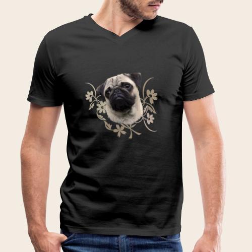 Mops Portrait - Männer Bio-T-Shirt mit V-Ausschnitt von Stanley & Stella