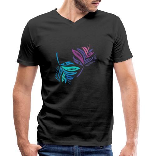 foglie geometriche - T-shirt ecologica da uomo con scollo a V di Stanley & Stella