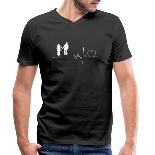 Herzschlag Heartbeat Liebespaar Fahrrad Paar - Männer Bio-T-Shirt mit V-Ausschnitt von Stanley & Stella