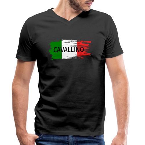 Cavallino auf Flagge - Männer Bio-T-Shirt mit V-Ausschnitt von Stanley & Stella