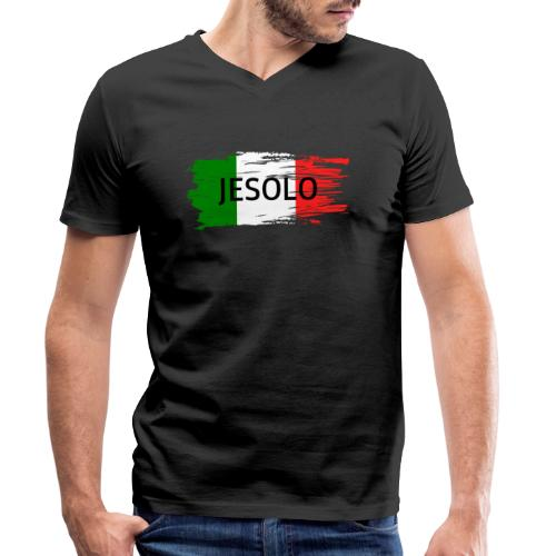 Jesolo auf Flagge - Männer Bio-T-Shirt mit V-Ausschnitt von Stanley & Stella