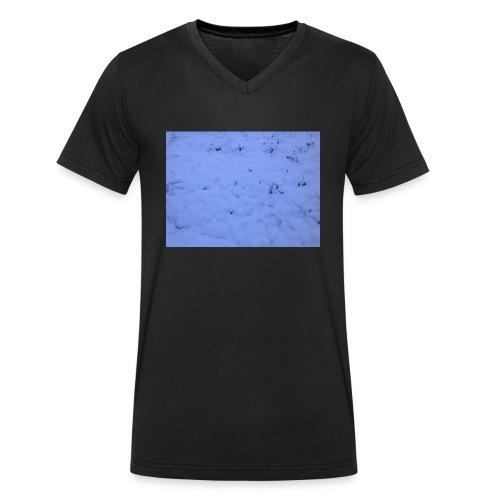 Deksel med vinterbilde - Økologisk T-skjorte med V-hals for menn fra Stanley & Stella