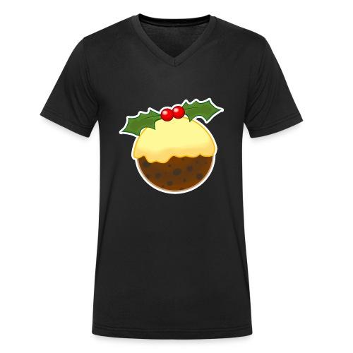 Christmas Pudding - Men's Organic V-Neck T-Shirt by Stanley & Stella