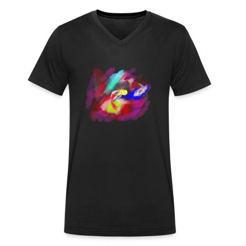 Aquarell Rose - Männer Bio-T-Shirt mit V-Ausschnitt von Stanley & Stella