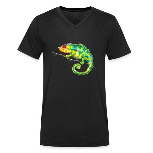 MIKO Chamäleon Chamaeleon Chameleon - Männer Bio-T-Shirt mit V-Ausschnitt von Stanley & Stella