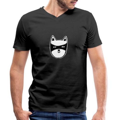 Kater mit Maske - Männer Bio-T-Shirt mit V-Ausschnitt von Stanley & Stella