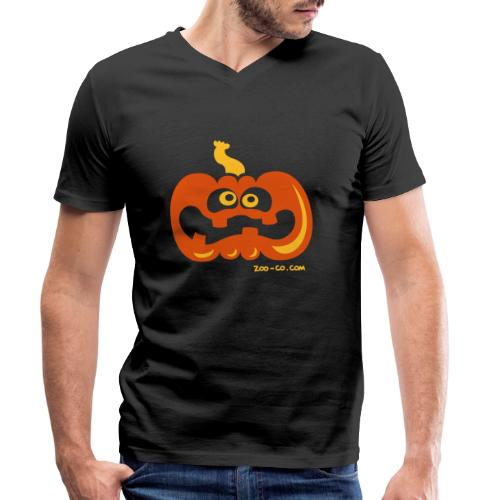 Scared Pumpkin - Men's Organic V-Neck T-Shirt by Stanley & Stella
