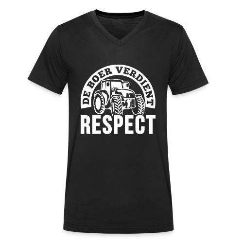LOGO WIT DeBoerVerdientRe - Mannen bio T-shirt met V-hals van Stanley & Stella