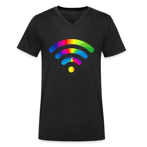 wifi signal rainbow - Mannen bio T-shirt met V-hals van Stanley & Stella