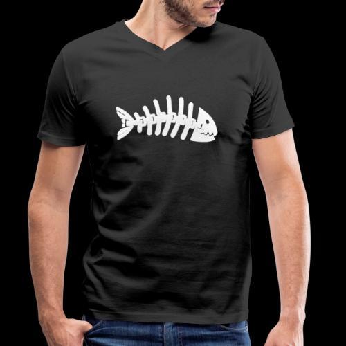 Kun fiske logo - Økologisk T-skjorte med V-hals for menn fra Stanley & Stella