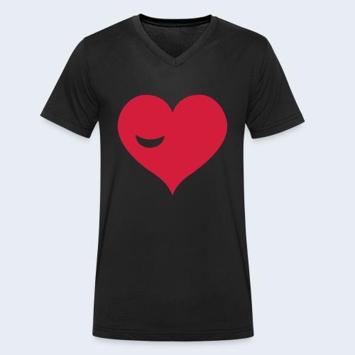 Winky Heart - Mannen bio T-shirt met V-hals van Stanley & Stella
