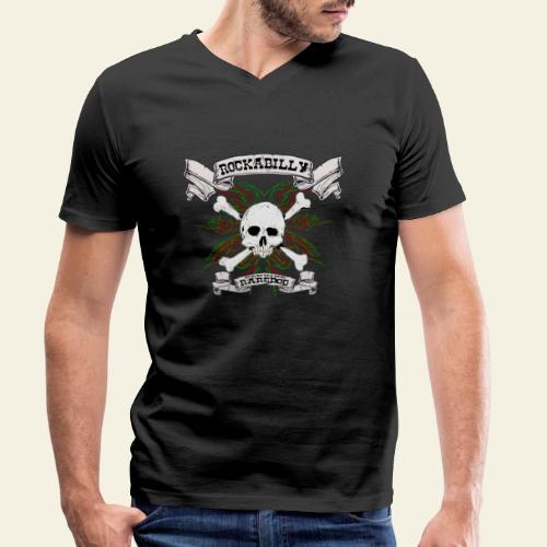 Rockabilly Raredog Skull - Økologisk Stanley & Stella T-shirt med V-udskæring til herrer