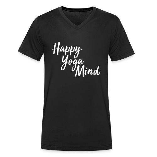 Happy Yoga Mind Schriftzug versetzt - Männer Bio-T-Shirt mit V-Ausschnitt von Stanley & Stella