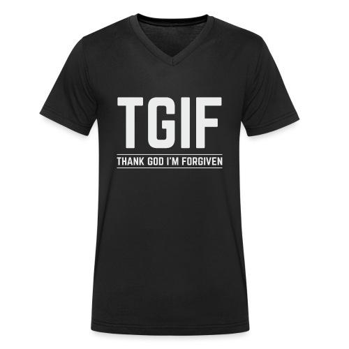 TGIF - Dzięki Bogu, wybaczono mi - Ekologiczna koszulka męska z dekoltem w serek Stanley & Stella