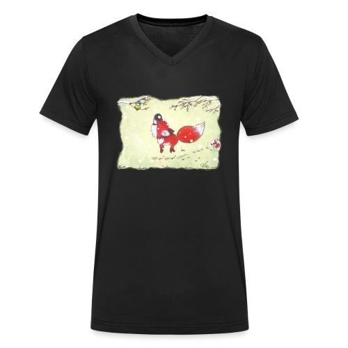 Hopsender Fuchs im Schnee - Männer Bio-T-Shirt mit V-Ausschnitt von Stanley & Stella