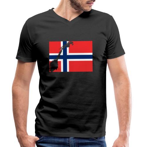 Norges Flagg - Männer Bio-T-Shirt mit V-Ausschnitt von Stanley & Stella