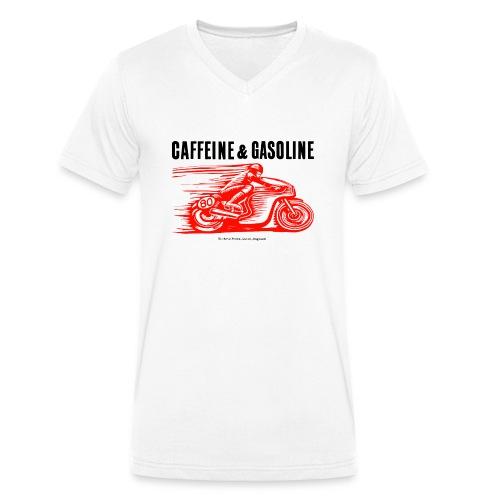 Caffeine & Gasoline black text - Men's Organic V-Neck T-Shirt by Stanley & Stella