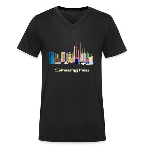 skyline Shanghai - Männer Bio-T-Shirt mit V-Ausschnitt von Stanley & Stella