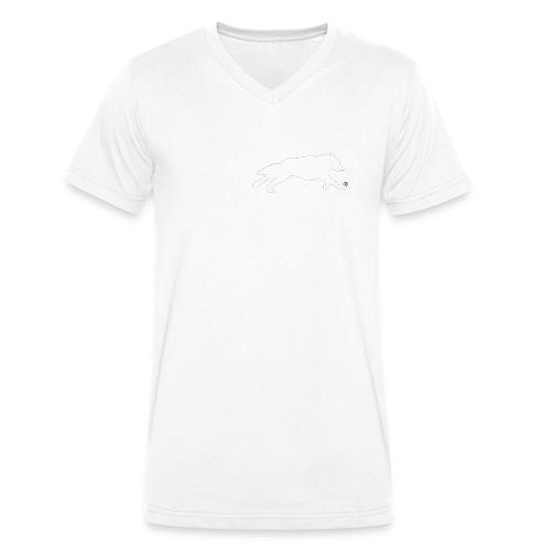 PietrzakWhite - Ekologiczna koszulka męska z dekoltem w serek Stanley & Stella