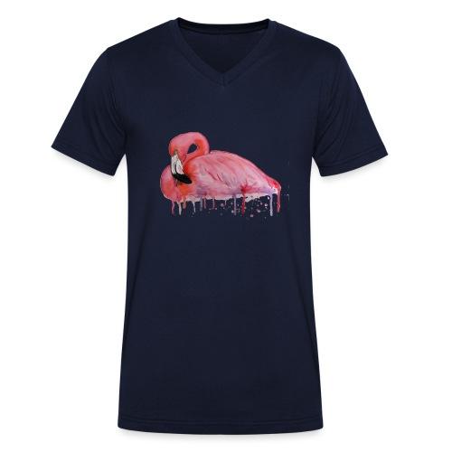 Pink Flamingo Watercolors Nadia Luongo - T-shirt ecologica da uomo con scollo a V di Stanley & Stella