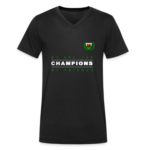 Wales Champions men red+green - Men's Organic V-Neck T-Shirt by Stanley & Stella