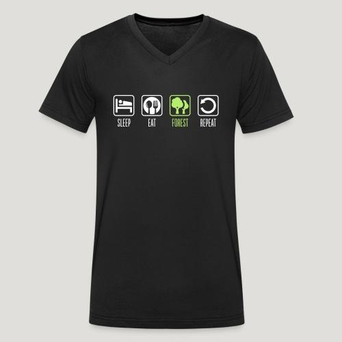 Sleep Eat Forest Repeat - Männer Bio-T-Shirt mit V-Ausschnitt von Stanley & Stella