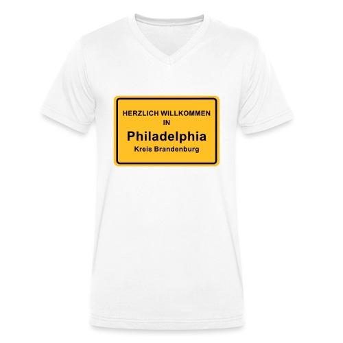 Ortsschild Philadelphia - Männer Bio-T-Shirt mit V-Ausschnitt von Stanley & Stella