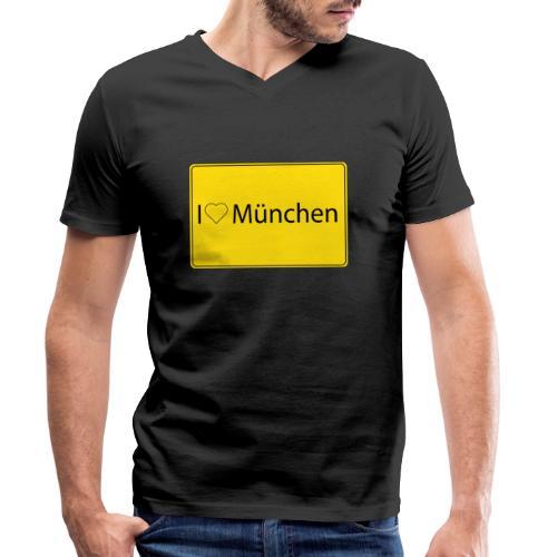 I love München - Männer Bio-T-Shirt mit V-Ausschnitt von Stanley & Stella