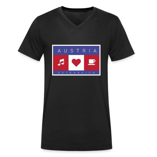 Austria - Österreich - Musik, Herz, Kaffee - Männer Bio-T-Shirt mit V-Ausschnitt von Stanley & Stella