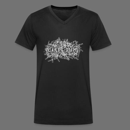 carpe diem (biały) - Ekologiczna koszulka męska z dekoltem w serek Stanley & Stella