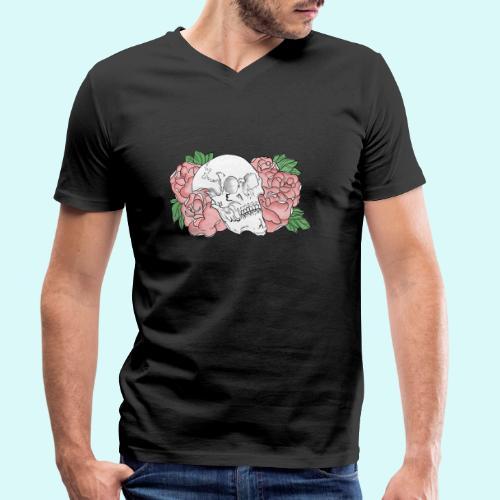 skull et fleurs - T-shirt bio col V Stanley & Stella Homme