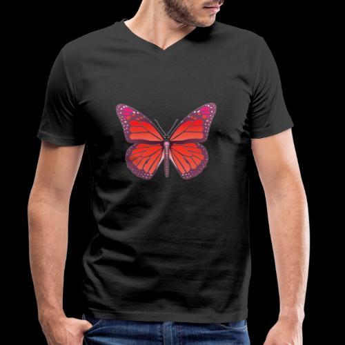D28 monarch butterfly red lajarindream 4500px - Camiseta ecológica hombre con cuello de pico de Stanley & Stella