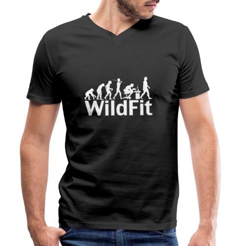 WildFit Logo Evolution Weiß - Männer Bio-T-Shirt mit V-Ausschnitt von Stanley & Stella