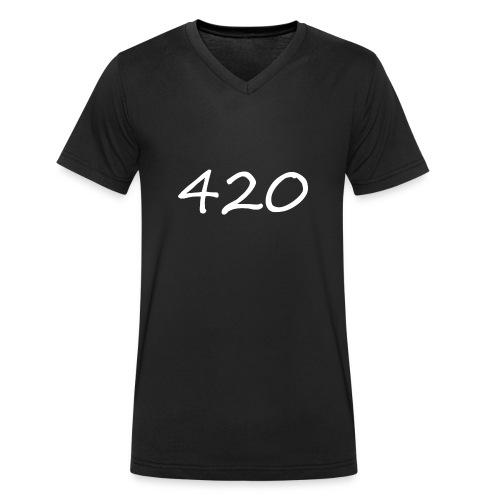 A hand drawn cannabis inspired 420 text logo - Men's Organic V-Neck T-Shirt by Stanley & Stella