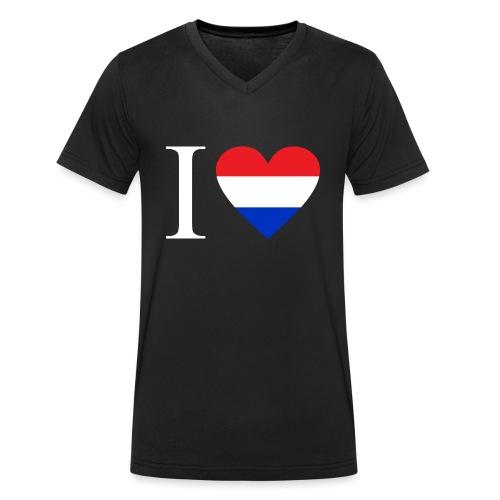 Ik hou van Nederland | Hart met rood wit blauw - Mannen bio T-shirt met V-hals van Stanley & Stella