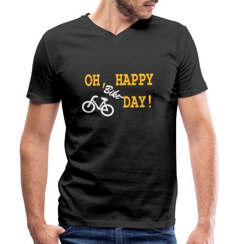 Oh Happy Bike Day - Männer Bio-T-Shirt mit V-Ausschnitt von Stanley & Stella