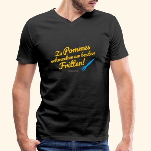 Pommes & Fritten   Geek T-Shirts - Männer Bio-T-Shirt mit V-Ausschnitt von Stanley & Stella