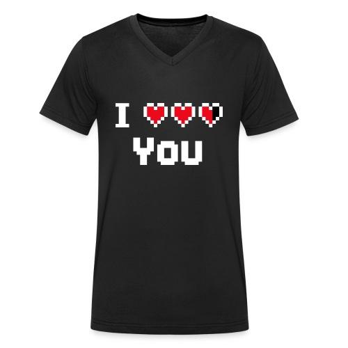 I pixelhearts you - Mannen bio T-shirt met V-hals van Stanley & Stella
