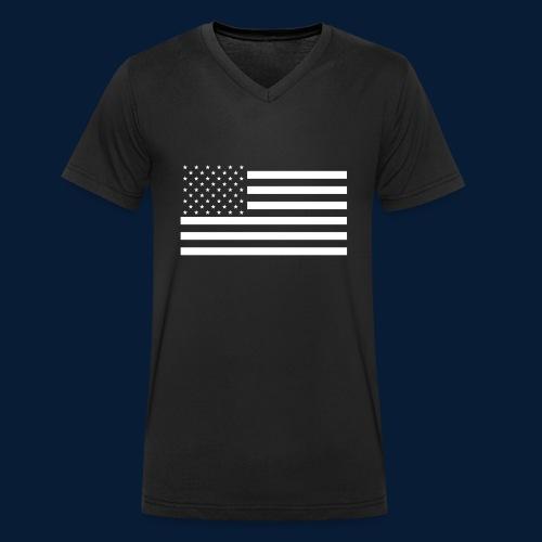 Stars and Stripes White - Männer Bio-T-Shirt mit V-Ausschnitt von Stanley & Stella