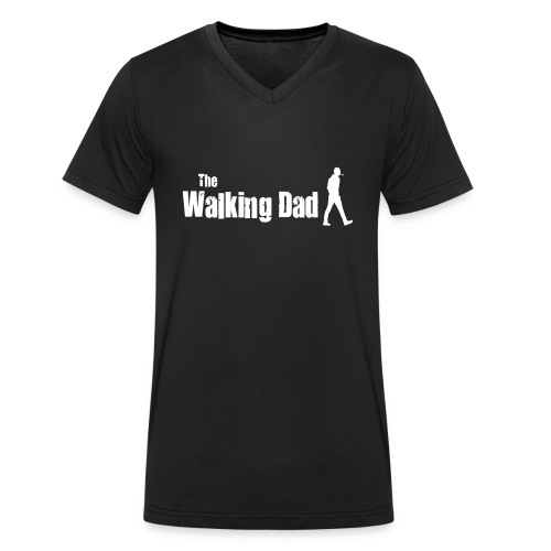 the walking dad white text on black - Men's Organic V-Neck T-Shirt by Stanley & Stella