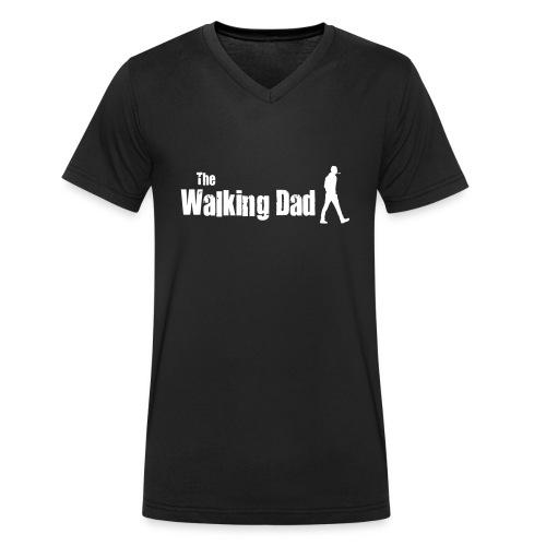 the walking dad white text on black - Men's Organic V-Neck T-Shirt by Stanley & Stella