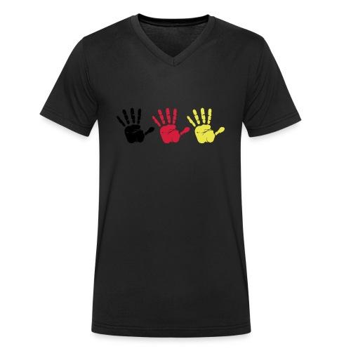 Handabdruck Trio - Männer Bio-T-Shirt mit V-Ausschnitt von Stanley & Stella
