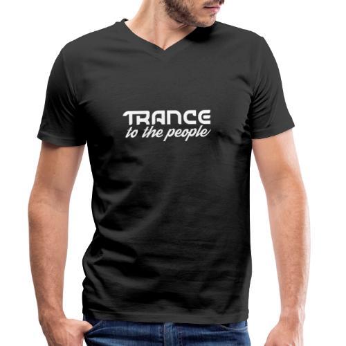 Trance to the People Hvidt Logo - Økologisk Stanley & Stella T-shirt med V-udskæring til herrer