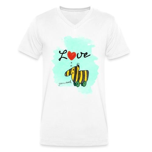 Janosch Verliebte Tigerente Herz Love - Männer Bio-T-Shirt mit V-Ausschnitt von Stanley & Stella