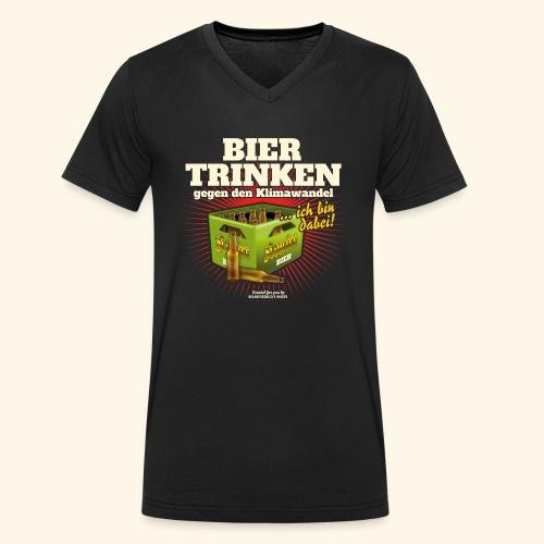 Bier T Shirt Trinken gegen den Klimawandel - Männer Bio-T-Shirt mit V-Ausschnitt von Stanley & Stella