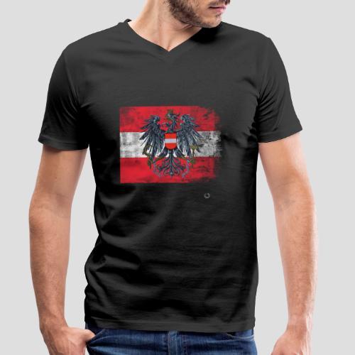 Österreich - Austria Flagge - Männer Bio-T-Shirt mit V-Ausschnitt von Stanley & Stella
