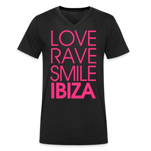 LOVE RAVE SMILE LOGO - Männer Bio-T-Shirt mit V-Ausschnitt von Stanley & Stella