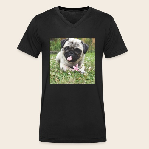 Mops Wiese - Männer Bio-T-Shirt mit V-Ausschnitt von Stanley & Stella
