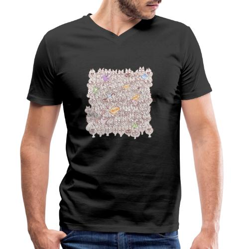 Funny cats posing in a meowing pattern - Men's Organic V-Neck T-Shirt by Stanley & Stella
