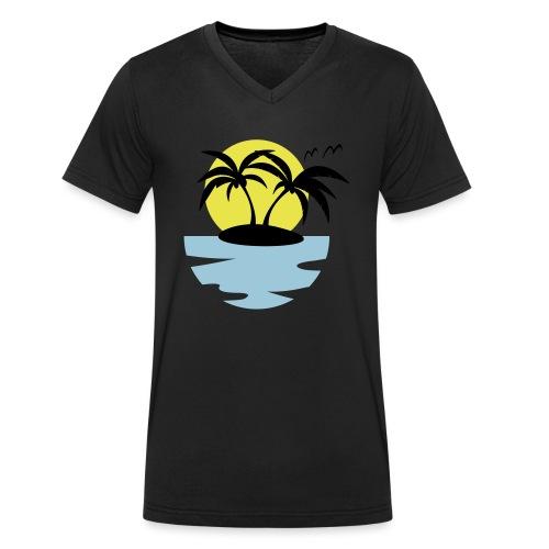 Island, Sun and Sea - Men's Organic V-Neck T-Shirt by Stanley & Stella